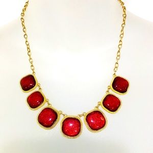 Gold and Red Statement Necklace